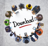 People Social Networking and Downloading Concept Royalty Free Stock Photos