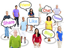 People with Social Networking Themed Words. Royalty Free Stock Photography