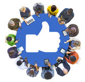 People Social Networking and Thumbs Up Symbol Stock Image