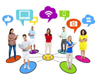 People Social Networking Via Modern Technology Royalty Free Stock Photography