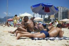 People Socializing Ipanema Beach Rio de Janeiro Brazil Royalty Free Stock Images
