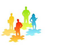 People Solutions. Illustration of people and puzzle pieces Stock Photo