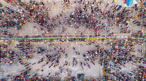 People in Songkran Festival at center of Sukhothai province. Aerial view form flying drone Royalty Free Stock Photos