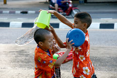 People in a Songkran water fight festival in Chiangmai, Thailand Royalty Free Stock Images