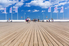 People on Sopot molo at Baltic Sea, Poland Stock Images