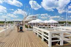 People on Sopot molo at Baltic Sea, Poland Stock Image