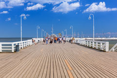 People on Sopot molo at Baltic Sea, Poland Royalty Free Stock Photos