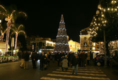 People in sorrento. Many people in the main square of sorrento in italy in christmas time Royalty Free Stock Photo