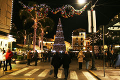 People in sorrento. People are walking in the main square of sorrento in italy in christmas time Stock Image
