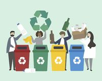 People sorting garbage into recycle bins illustration Vector Illustration
