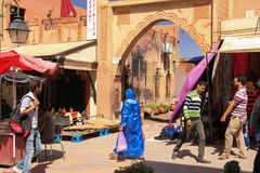 People at the Souk. Ouarzazate. Morocco. Men at women at the Souk. Ouarzazate. Morocco Royalty Free Stock Image