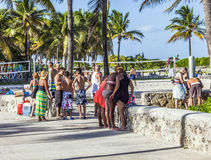 People at South Beach Miami Stock Image