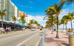 People on South Fort Lauderdale Beach Boulevard. Fort Lauderdale, USA - February 22, 2019: People on South Fort Lauderdale Beach Boulevard stock images