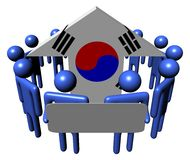 People and South Korean flag arrow Stock Photo