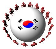 People and South Korean flag sphere Royalty Free Stock Photos