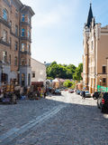 People and souvenir shops on Andriyivskyy Descent Stock Photography