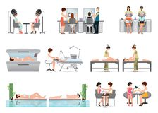 People in spa beauty salon and various beauty procedures isolate Royalty Free Stock Image
