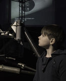 People and space. future technologies. Boy in  Museum Royalty Free Stock Images