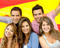 People with Spanish flag Stock Images