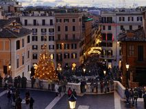 People Spanish steps christmas xmas holiday Rome Italy stock photography