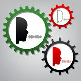 People speaking or singing sign. Vector. Three connected gears w. Ith icons at grayish background royalty free illustration