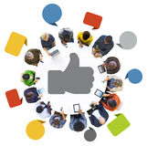 People with Speech Bubble and Thumbs Up Symbol Stock Photo