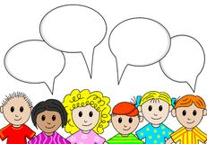 People with speech bubbles. Vector Illustration of people with speech bubbles Stock Photos