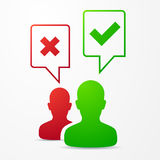 2 people speech bubbles with check marks red / green. For web icons Stock Photos