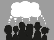People with speech bubbles. EPS. Young People with speech bubbles in a debate or sharing ideas. EPS Royalty Free Stock Photo