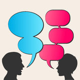 People with speech bubbles. People icons with colorful dialog speech bubbles Stock Image