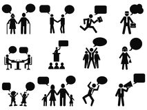 People with speech bubbles icons. Isolated black people with speech bubbles icons from white background Stock Photography