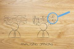 People with speech bubbles one with ideas and with magnifying gl Royalty Free Stock Image