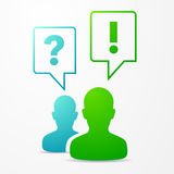 2 People Speech Bubbles Question & Answer Blue/Green Royalty Free Stock Photography