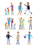 People Spending Holidays and Celebrating New Year. People celebrating New Year on white. Vector illustration of woman teaching children, fighting men, people Royalty Free Stock Photos