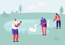 People Spending Time in Animal Park with Lake. Male and Female Characters Having Outdoors Leisure in Open Air Zoo Feeding Swans. Taking Landscape Pictures royalty free illustration