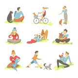 People spending time with pets on nature set vector royalty free illustration