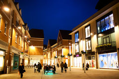 Shopping area during night Stock Photography