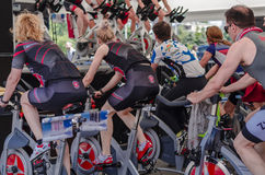 People at spinning class Stock Images