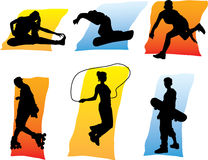 People in sport 1. Silhouettes Stock Photos