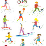 People and sport seamless pattern. Funny design Royalty Free Stock Images