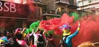 People Spraying Assorted Color Of Smoke Stock Photo
