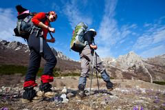 People in spring hike Stock Photography