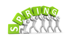 People with spring word Royalty Free Stock Photos