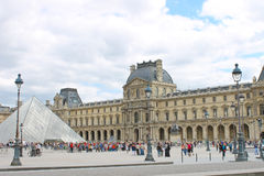 People in the square in front of the Louvre Royalty Free Stock Photography