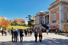 People on the square in front of the National Prado Museum Stock Photography