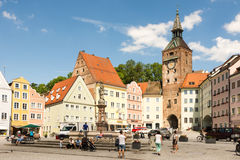 People at a square in Landsberg am Lech Stock Photos