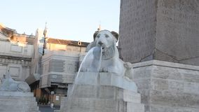 People Square and lions Square in Rome. Scenic view frome the Pincio stock video footage