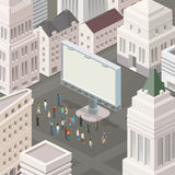 People in the square looking at the billboard. Isometric vector illustration. Big city Royalty Free Stock Photos