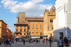 People on the Square Neptune in Bologna. Bologna, Italy - August 18, 2014: People on the Square Neptune (Piazza del Nettuno) in Bologna. Italy royalty free stock image