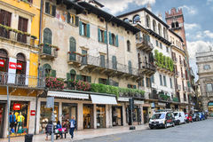 People on the square Piazza delle Erbe . Verona, Italy Royalty Free Stock Images